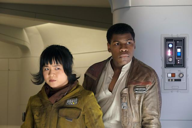 Kelly Marie Tran as Rose and John Boyega as Finn in 'Star Wars: The Last Jedi' (Photo: David James/ Disney/ Lucasfilm Ltd./Everett Collection)