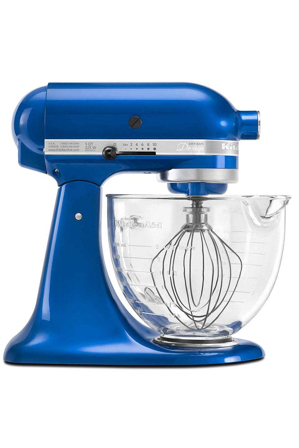 """<p><strong>KitchenAid</strong></p><p>williams-sonoma.com</p><p><strong>$429.95</strong></p><p><a href=""""https://go.redirectingat.com?id=74968X1596630&url=https%3A%2F%2Fwww.williams-sonoma.com%2Fproducts%2Fkitchenaid-design-series-stand-mixer_2%2F&sref=https%3A%2F%2Fwww.goodhousekeeping.com%2Fappliances%2Fmixer-reviews%2Fg2224%2Fstand-mixer-reviews%2F"""" rel=""""nofollow noopener"""" target=""""_blank"""" data-ylk=""""slk:Shop Now"""" class=""""link rapid-noclick-resp"""">Shop Now</a></p><p>It's the ultimate countertop showpiece for a reason: There's nothing the KitchenAid can't do! Turn to our test's champion for so-smooth cookie dough, cake batter, and perfectly whipped egg whites. It comes with great basics plus you can <strong>add accessories</strong> <strong>like a <a href=""""https://www.amazon.com/KitchenAid-KSMPEXTA-Gourmet-Attachment-Interchangeable/dp/B01ENK4UV2/r"""" rel=""""nofollow noopener"""" target=""""_blank"""" data-ylk=""""slk:pasta maker"""" class=""""link rapid-noclick-resp"""">pasta maker</a>, <a href=""""https://www.amazon.com/KitchenAid-KSM1APC-Spiralizer-Attachment-Slice/dp/B00XPRRHYW/"""" rel=""""nofollow noopener"""" target=""""_blank"""" data-ylk=""""slk:spiralizer"""" class=""""link rapid-noclick-resp"""">spiralizer</a> or <a href=""""https://www.amazon.com/KitchenAid-KSM1JA-Masticating-Juicer-Attachment/dp/B00LEB8IVM/"""" rel=""""nofollow noopener"""" target=""""_blank"""" data-ylk=""""slk:juicer"""" class=""""link rapid-noclick-resp"""">juicer</a></strong>. Not to mention there are now <a href=""""https://go.redirectingat.com?id=74968X1596630&url=https%3A%2F%2Fwww.kitchenaid.com%2Fcustom.html&sref=https%3A%2F%2Fwww.goodhousekeeping.com%2Fappliances%2Fmixer-reviews%2Fg2224%2Fstand-mixer-reviews%2F"""" rel=""""nofollow noopener"""" target=""""_blank"""" data-ylk=""""slk:30 fun color options to choose from"""" class=""""link rapid-noclick-resp"""">30 fun color options to choose from</a>; plus, the option to engrave it and choose from 15 different bowl designs. Seriously, when it comes to mixing power, this five-quart classic is unparalleled. </p>"""