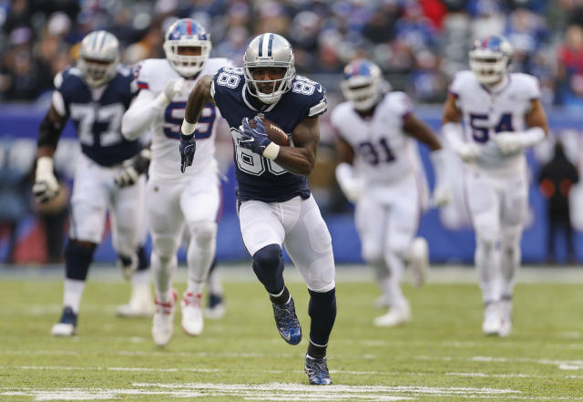 FILE - In this Dec. 10, 2017, file photo, Dallas Cowboys wide receiver Dez Bryant (88) runs for a touchdown against the New York Giants during the second quarter of an NFL football game in East Rutherford, N.J. A person familiar with the situation says free-agent Dez Bryant and the New Orleans Saints have agreed on contract terms that will add the former Cowboys star to one of the NFL's top offenses. The person spoke to The Associated Press on condition of anonymity on Wednesday, Nov. 7, 2018, because the roster move has not been announced. (AP Photo/Adam Hunger, File)