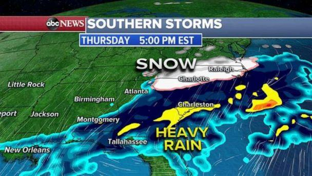 PHOTO: The southern part of that storm system has stalled and will bring heavy rains to the South with even some snow for the Carolinas. (ABC News)
