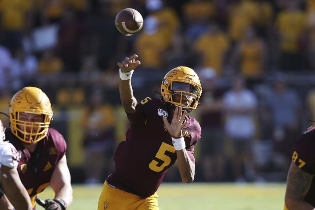 Arizona State quarterback Jayden Daniels could end up being the best quarterback in the Pac-12. (AP Photo/Ross D. Franklin)