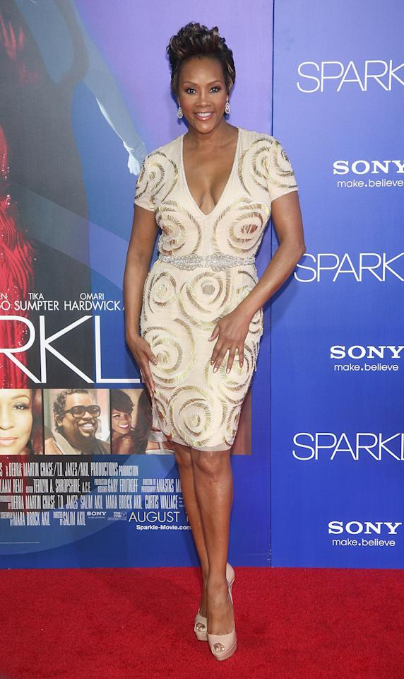 """HOLLYWOOD, CA - AUGUST 16:  Actress Vivica A. Fox arrives at the Los Angeles Premiere of """"Sparkle"""" at Grauman's Chinese Theatre on August 16, 2012 in Hollywood, California.  (Photo by Maury Phillips/Getty Images For A+E Networks)"""
