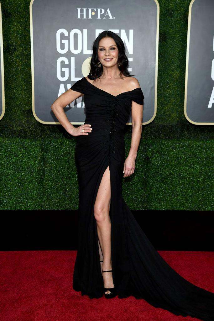 The thigh's the limi for Zeta-Jones at the Golden Globes earlier this year. (Getty Images for Hollywood Foreign Press Association)
