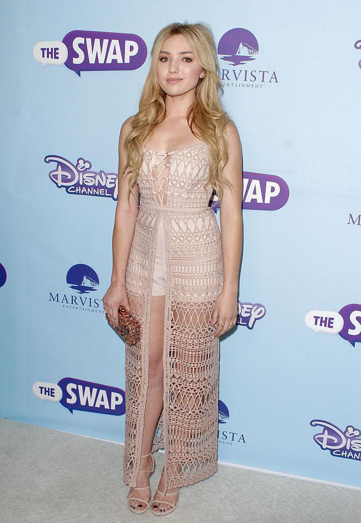 <p>The young Disney star picked up on the crochet trend in a peek-a-boo nude dress over high-waisted shorts. <i>(Photo by Matthew Simmons/Getty Images)</i><br></p>