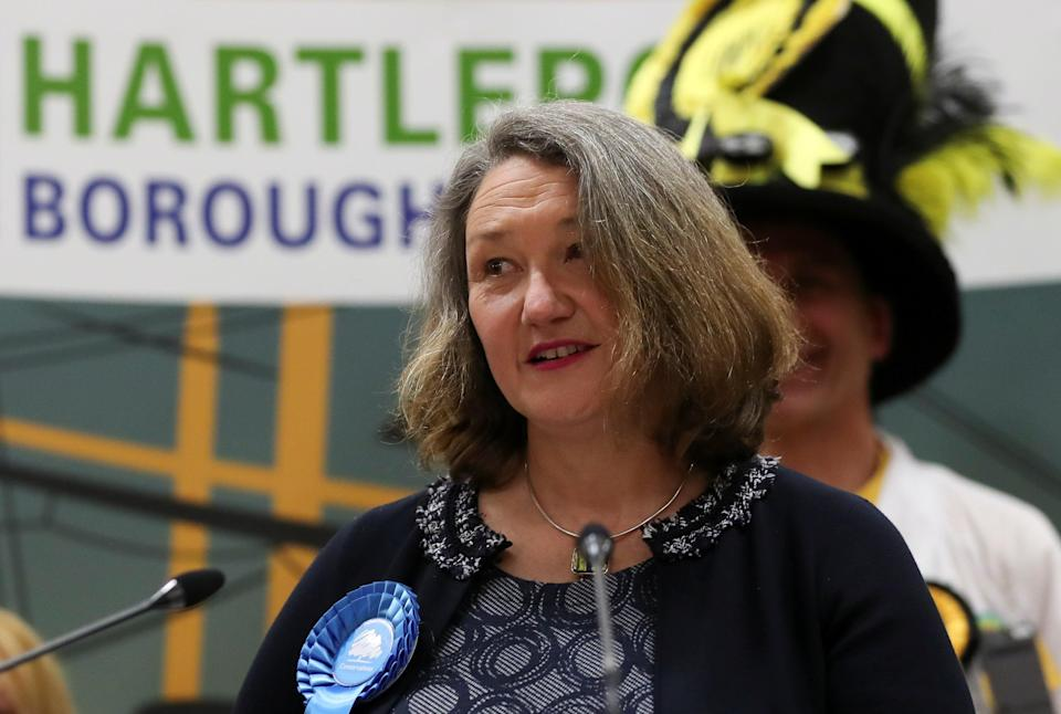 Jill Mortimer of the Conservative Party delivers a victory speech at Mill House Leisure Centre in Hartlepool as results are announced (REUTERS)