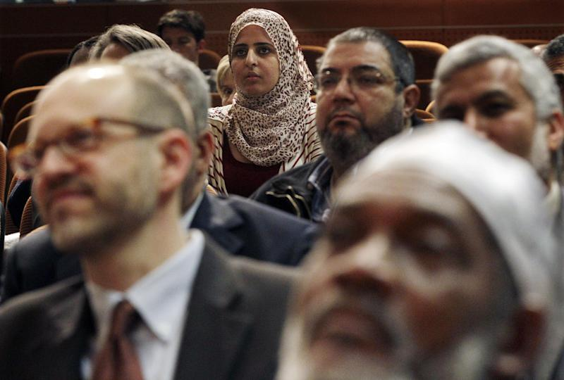 A large gathering sits at Saint Peter's College in Jersey City, N.J., Thursday, March 8, 2012, during an interfaith news conference to address concerns about the spying conducted by the New York City Police Department on the Muslim community in New Jersey. (AP Photo/Mel Evans)