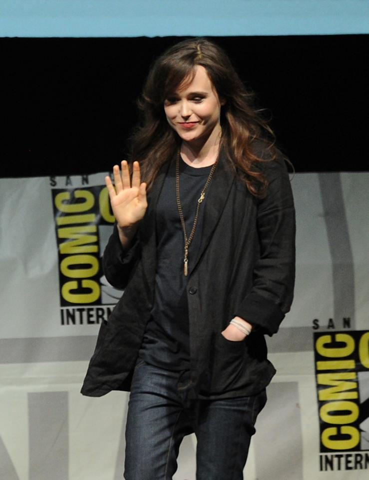 SAN DIEGO, CA - JULY 20: Actress Ellen Page speaks at the 20th Century Fox panel during Comic-Con International 2013 at San Diego Convention Center on July 20, 2013 in San Diego, California. (Photo by Kevin Winter/Getty Images)