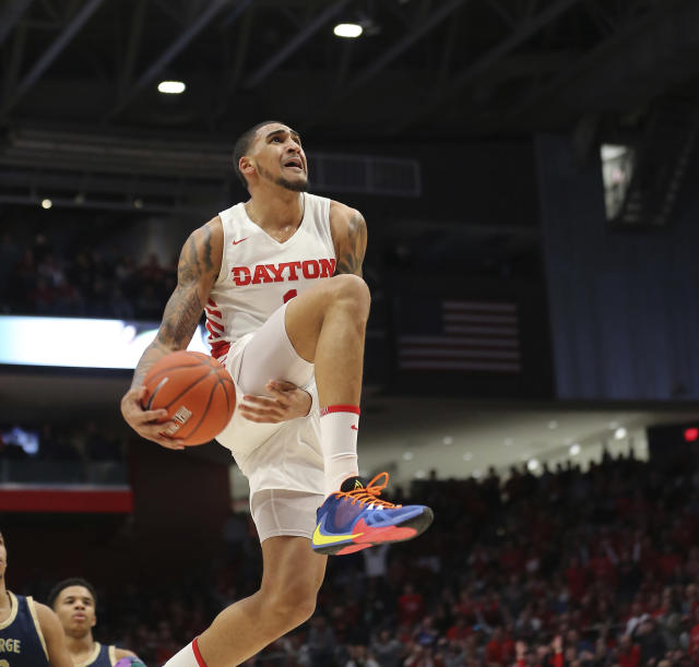 Dayton's Obi Toppin goes up to dunk during the second half of an NCAA college basketball game against George Washington, Saturday, March 7, 2020, in Dayton, Ohio. (AP Photo/Tony Tribble)