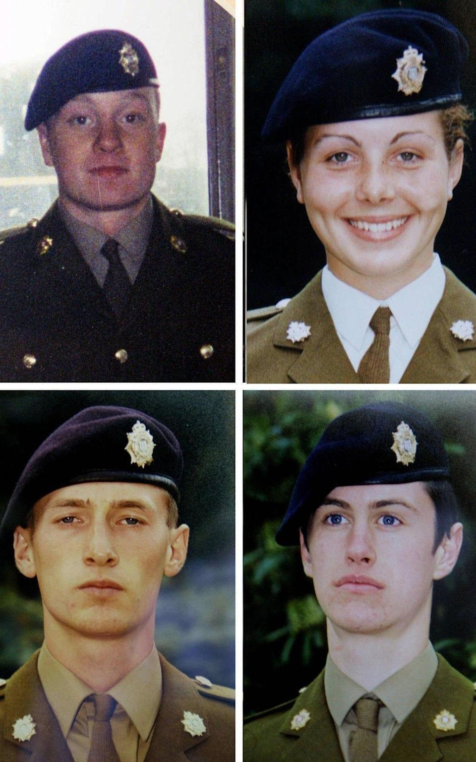 Composite of undated handout photos showing (clockwise from left to right) Private James Collinson, 17, from Perth, Private Cheryl James, 18, from Llangollen, North Wales, Private Sean Benton from Hastings, East Sussex and Private Geoff Gray, 17, from Hackney, east London, who all died at Deepcut army barracks in Surrey, as a two-decade fight for justice will finally come to an end for Cheryl's family on Friday when a coroner delivers the long-awaited ruling into how she died at Deepcut Army barracks. PRESS ASSOCIATION Photo. Issue date: Friday June 3, 2016. Pte James, 18, was found with a bullet wound to her head on November 27 1995 while she was undergoing initial training at the Surrey base. See PA story INQUEST Deepcut. Photo credit should read: PA Wire NOTE TO EDITORS: This handout photo may only be used in for editorial reporting purposes for the contemporaneous illustration of events, things or the people in the image or facts mentioned in the caption. Reuse of the picture may require further permission from the copyright holder. - PA