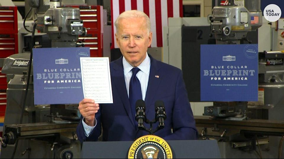 President Joe Biden discusses the economy, jobs and infrastructure in May in Cleveland.