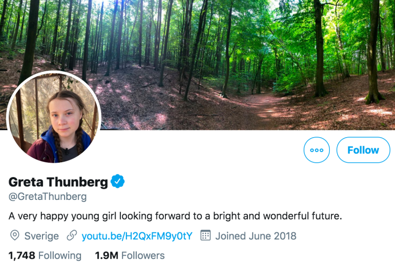 The activist changed her Twitter bio after Mr Trump's comments. (Twitter/@GretaThunberg)