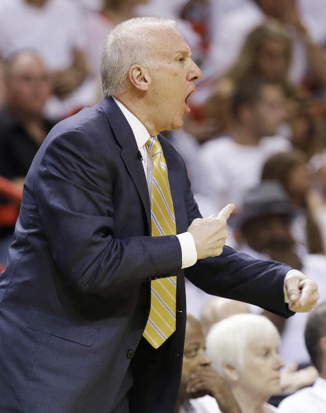 San Antonio Spurs head coach Gregg Popovich calls a play against the Miami Heat during the first half of Game 6 of the NBA Finals basketball game, Tuesday, June 18, 2013 in Miami. (AP Photo/Lynne Sladky)