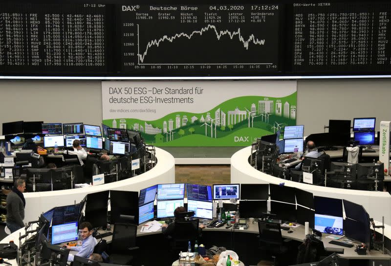 European shares back in red as virus fears persist; Miners lead losses
