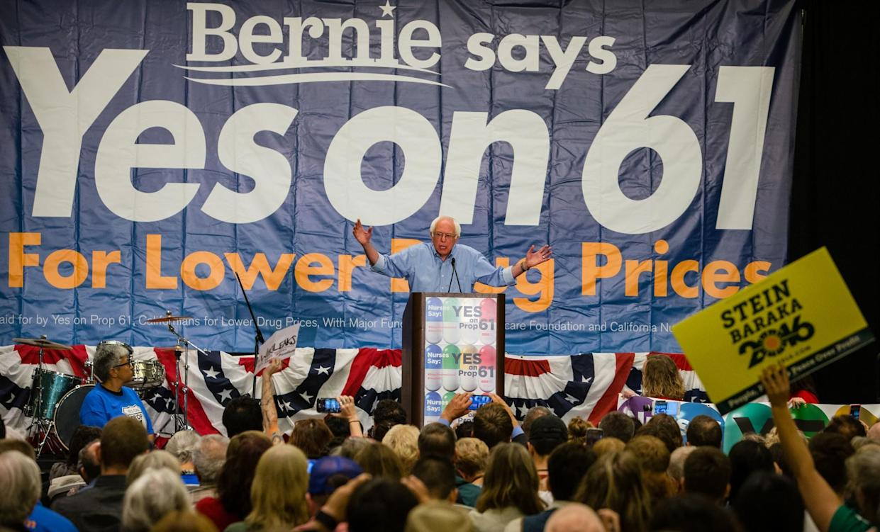 Bernie Sanders speaks out for Proposition 61, California's Drug Price Relief Act, in San Francisco on Oct. 15. (Photo: Tomas Ovalle/AP Images for AIDS Healthcare Foundation)