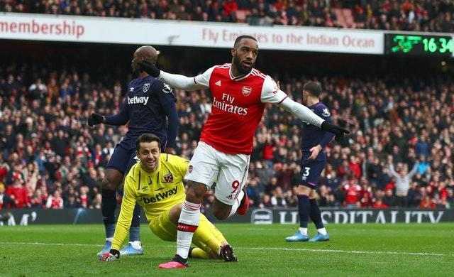 Alexandre Lacazette scored the only goal of the game as Arsenal beat West Ham the last time they played in front of fans at the Emirates Stadium.