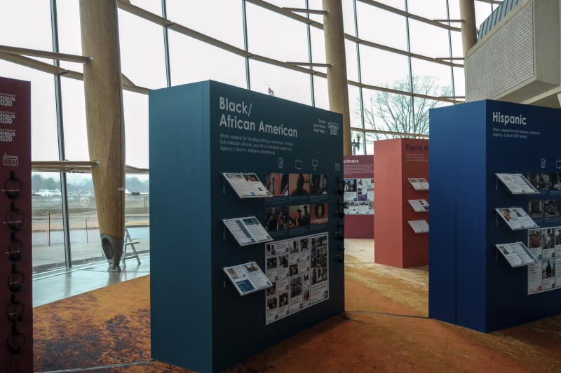 Advertising that the U.S. Census Bureau will use in their outreach campaign for the 2020 Census is displayed at the Arena Stage, Tuesday, Jan. 14, 2020, in Washington. (AP Photo/Michael A. McCoy)