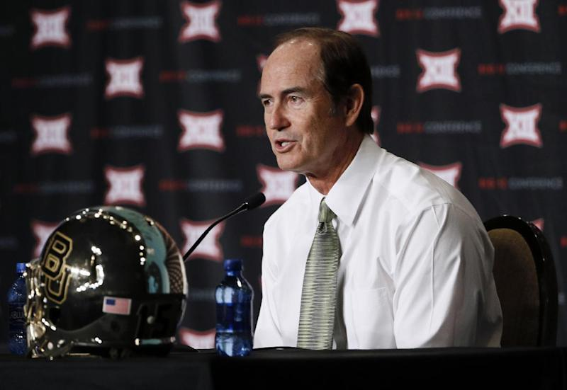 "FILE - In this July 21, 2015, file photo, Baylor coach Art Briles addresses attendees at the NCAA college Big 12 Conference football media days in Dallas. Texas' top law enforcement agency has opened a preliminary investigation into Baylor University and how it handled reports of sexual and physical assault over several years. The Texas Rangers confirmed Wednesday, March 1, 2017, they are working with the McLennan County prosecutor's office to ""determine if further action is warranted."" Baylor fired Briles in 2016 and demoted former President and Chancellor Ken Starr, who later resigned. Former athletic director Ian McCaw also resigned and is now at Liberty University in Virginia. (AP Photo/Tony Gutierrez, File)"