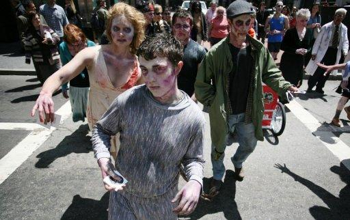 People dressed as zombies march around the streets of San Francisco to promote a new game for the iPhone in May 2012. The US Centers for Disease Control and Prevention (CDC) has declared there was no conclusive evidence for the existence of zombies