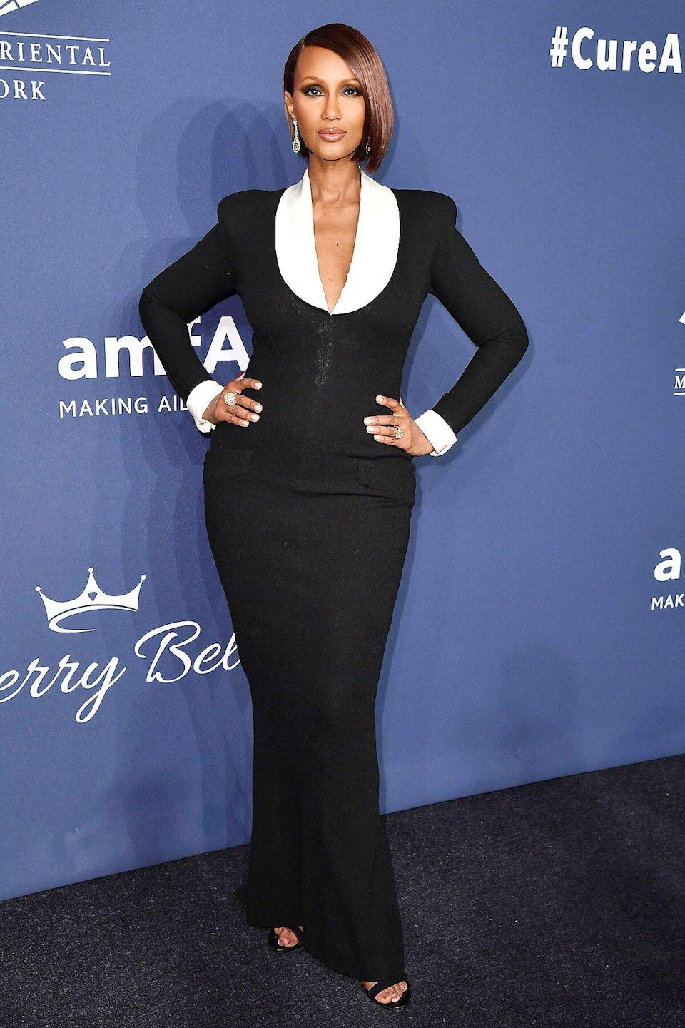 US-Somali fashion model Iman attends the amfAR Gala New York at Cipriani Wall Street in New York City on February 5, 2020