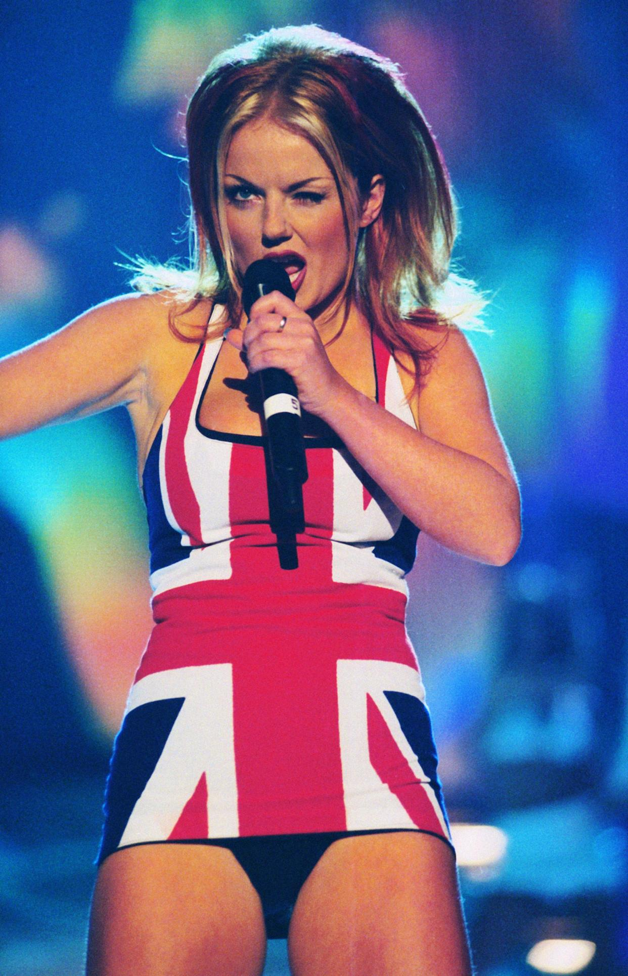 Geri Halliwell performing with the Spice Girls at the Brits in 1997. (Getty Images)