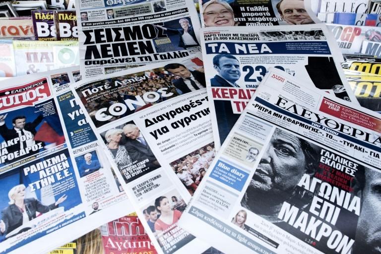 Newspapers in Greece, which has been on the sharp end of the EU's financial crisis in recent years, are also watching the French election closely