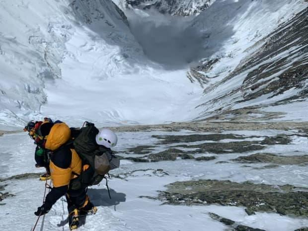 Kevin Walsh and his team conquered steep terrain when climbing the mountain.