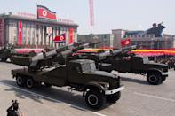 This file photo taken on April 15, 2012 shows North Korean missiles being displayed during a military parade in Pyongyang