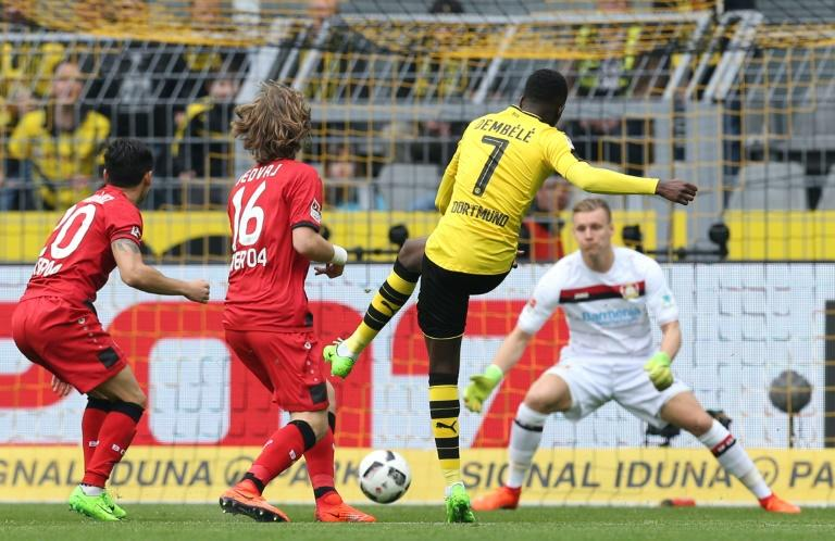 Dortmund's Ousmane Dembele scores a goal during their German First division Bundesliga match against Bayer Leverkusen, in Dortmund, on March 4, 2017