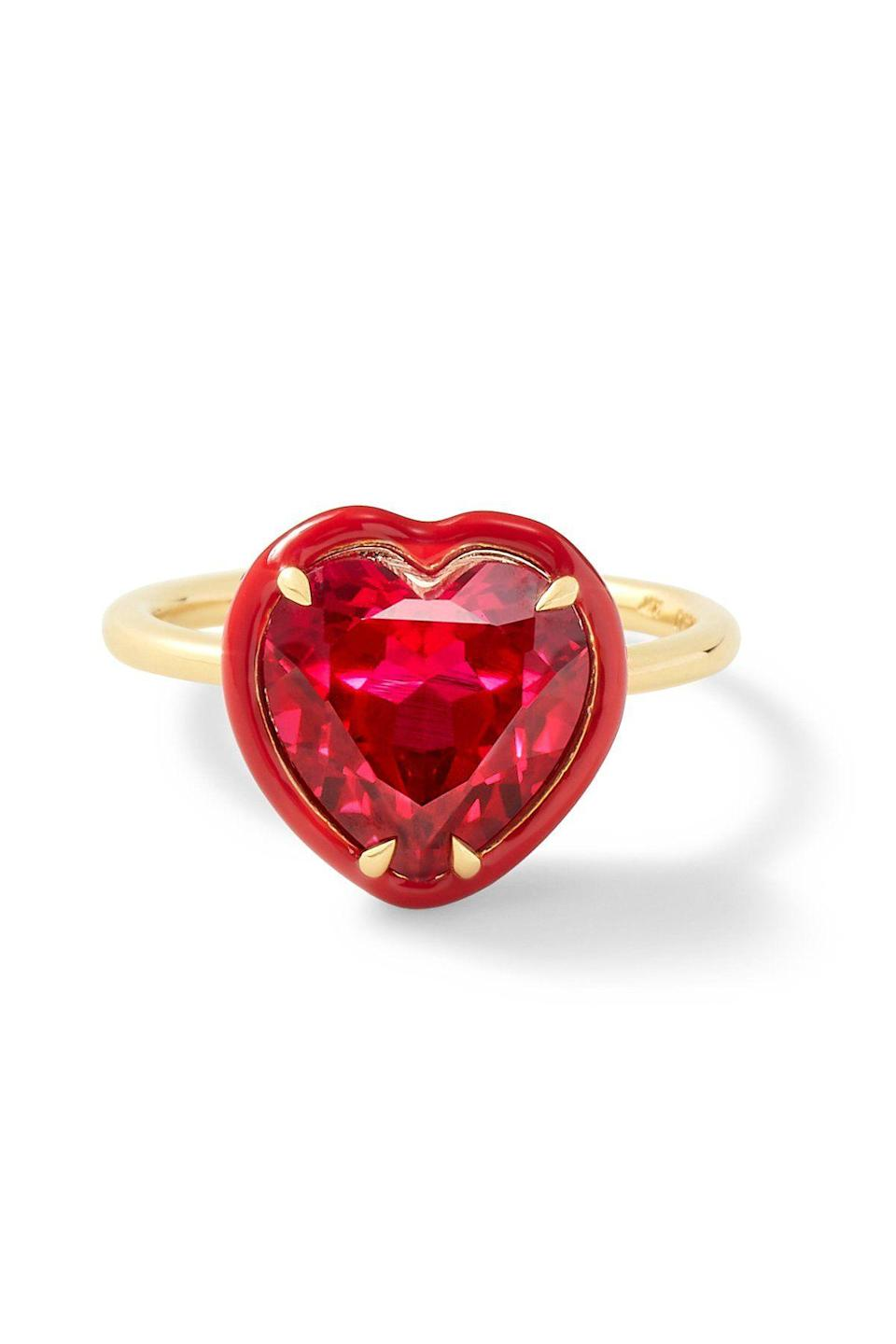 "<p><strong>Alison Lou</strong></p><p>alisonlou.com</p><p><strong>$1485.00</strong></p><p><a href=""https://www.alisonlou.com/collections/whats-new/products/heart-shaped-ruby-cocktail-ring"" rel=""nofollow noopener"" target=""_blank"" data-ylk=""slk:Shop Now"" class=""link rapid-noclick-resp"">Shop Now</a></p><p>We heart you.</p>"