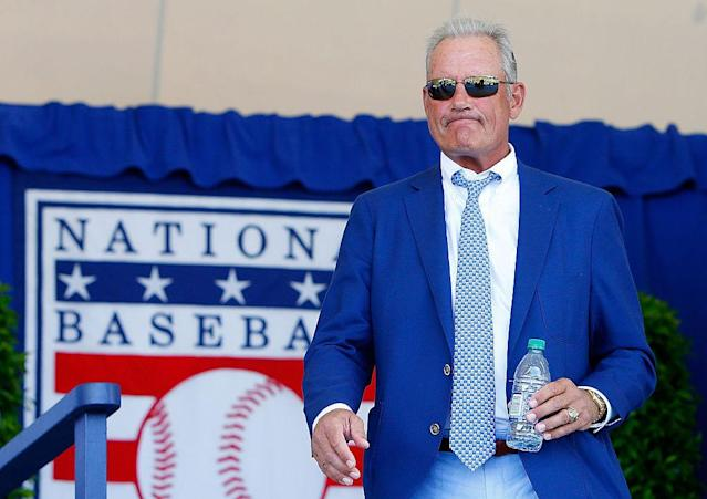 "<a class=""link rapid-noclick-resp"" href=""/mlb/teams/kan"" data-ylk=""slk:Kansas City Royals"">Kansas City Royals</a> legend George Brett was inducted into the National Baseball Hall of Fame in 1999. (Getty Images)"