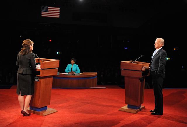 Gwen Ifill moderating the 2008 vice presidential debate with Republican candidate Sarah Palin and Democratic candidate Joe Biden.