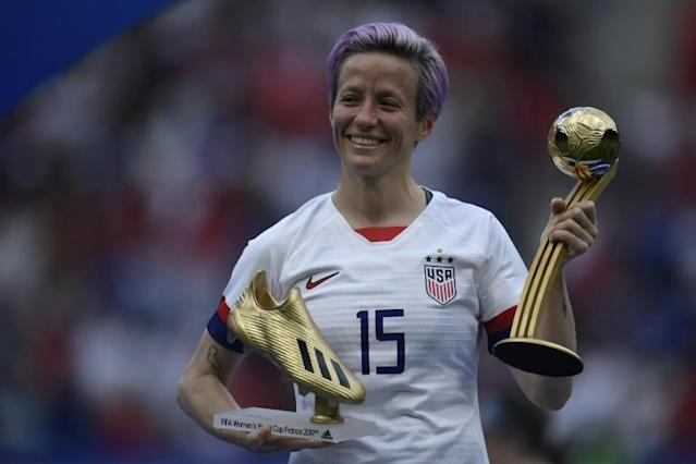 Megan Rapinoe won the Golden Boot and Golden Ball awards after being the undisputed star of the women's World Cup (AFP Photo/CHRISTOPHE SIMON)