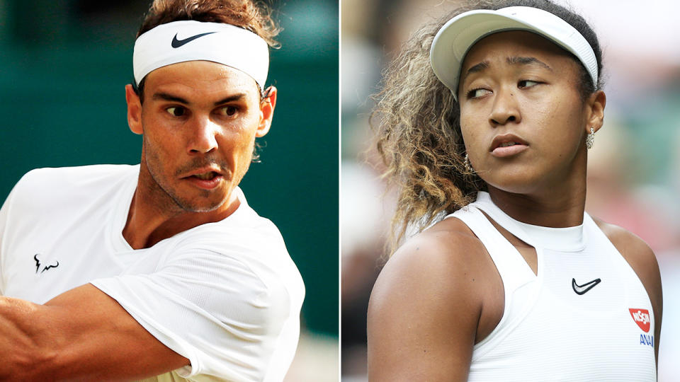 Rafa Nadal and Naomi Osaka, pictured here in action at Wimbledon in 2019.