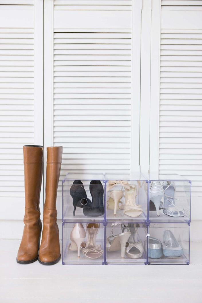 """<p>Whether you have designated shelves, shoe boxes, or a cluster of shoes at the bottom of the closet, organizing shoes heel to toe can maximize your space and give you a better look at the assortment of colors, toe styles, and heel heights.</p><p><a class=""""link rapid-noclick-resp"""" href=""""https://www.amazon.com/Seville-Classics-3-Tier-Utility-Espresso/dp/B00336TY0K/?tag=syn-yahoo-20&ascsubtag=%5Bartid%7C10060.g.36311015%5Bsrc%7Cyahoo-us"""" rel=""""nofollow noopener"""" target=""""_blank"""" data-ylk=""""slk:SHOP SHOE RACKS"""">SHOP SHOE RACKS</a></p>"""