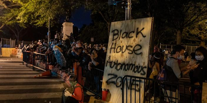 WASHINGTON, DC - JUNE 22: U.S. Park Police keeps protesters away after they attempted to pull down the statue of Andrew Jackson in Lafayette Square near the White House on June 22, 2020 in Washington, DC. Protests continue around the country over the deaths of African Americans while in police custody.