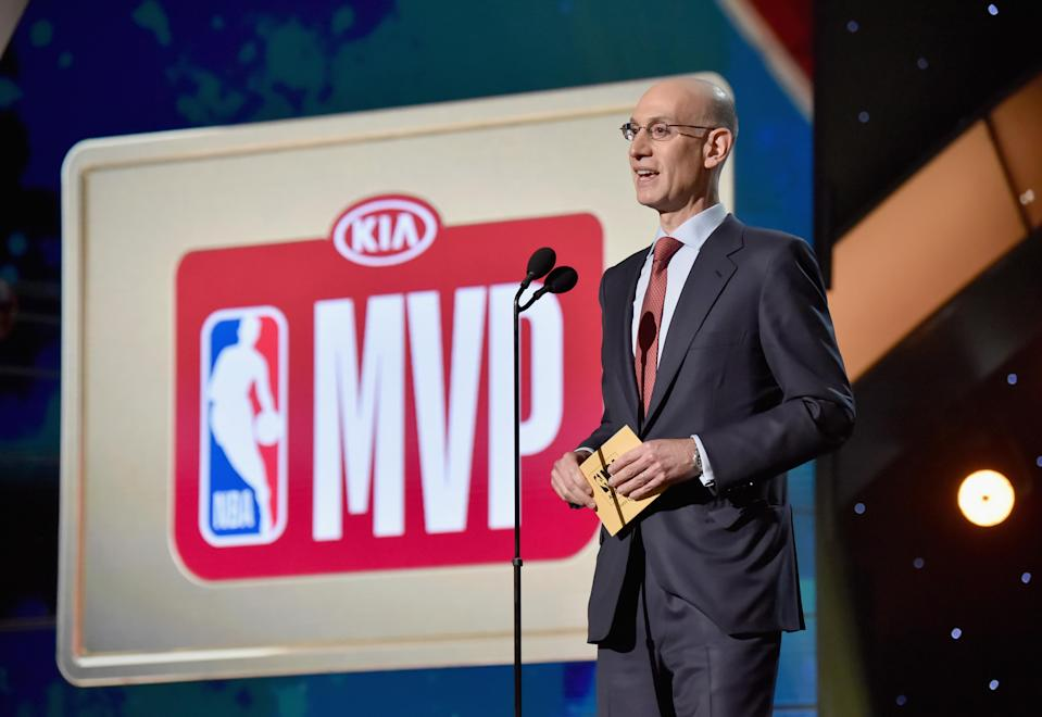 "NBA commissioner Adam Silver speaks onstage at the 2018 NBA Awards. Silver and the NBA announced Thursday a plan to allow fans ""to purchase a single game on NBA League Pass from the end of the third quarter to the conclusion of the game for $1.99."" (Kevin Mazur/Getty Images/Turner Sports)"