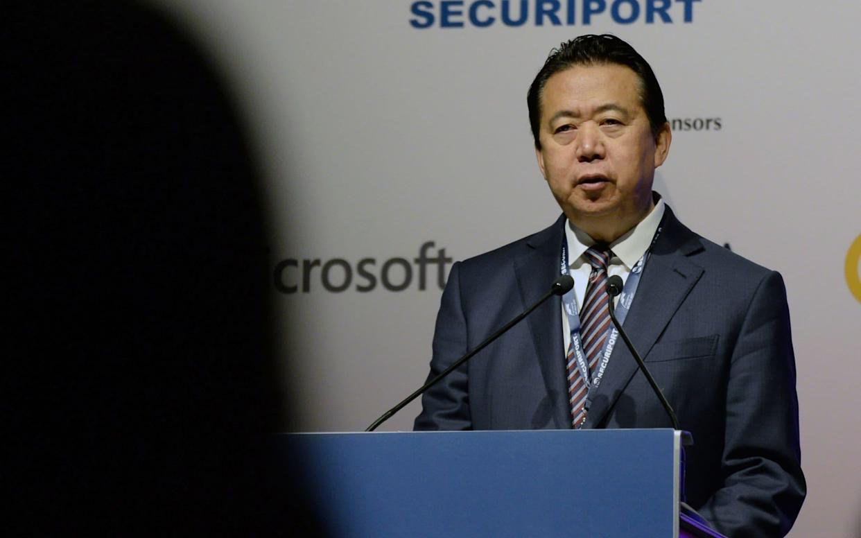 Meng Hongwei, president of Interpol, gives an addresses at the opening of the Interpol World Congress in Singapore in 2017 - AFP