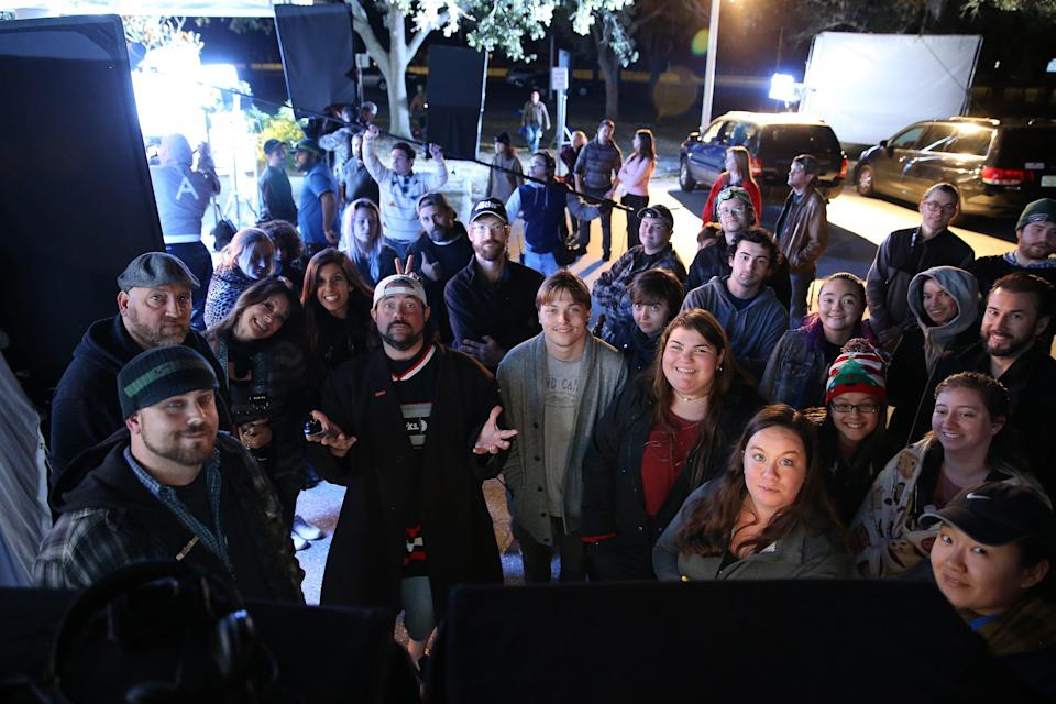 """Kevin Smith (center) with the """"Killroy Was Here"""" crew during a night shoot. The indie budget film was produced in association with Ringling College of Art and Design, with over 50 students and graduates working on the film through two years of production."""
