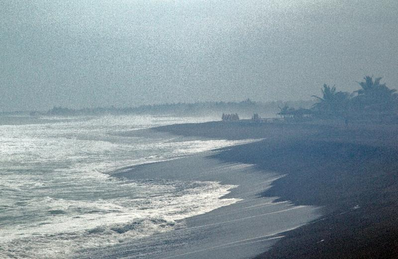 Waves break on the beach in Boca de Pascuales, Colima State, Mexico, on  October 22, 2015