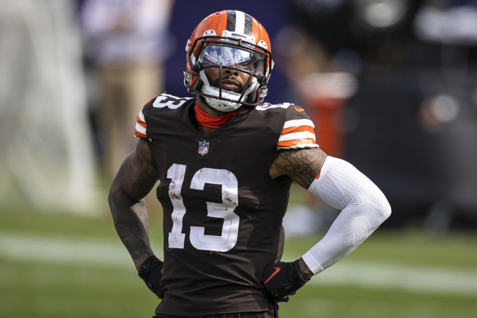 BALTIMORE, MD - SEPTEMBER 13: Odell Beckham Jr. #13 of the Cleveland Browns looks on against the Baltimore Ravens during the second half at M&T Bank Stadium on September 13, 2020 in Baltimore, Maryland. (Photo by Scott Taetsch/Getty Images)