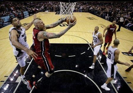 June 5, 2014, San Antonio, TX, USA; Miami Heat center Chris Andersen (11) shoots the ball against San Antonio Spurs forward Tim Duncan (21) in game one of the 2014 NBA Finals at AT&T Center. Mandatory Credit: Eric Gay/Pool Photo via USA TODAY Sports