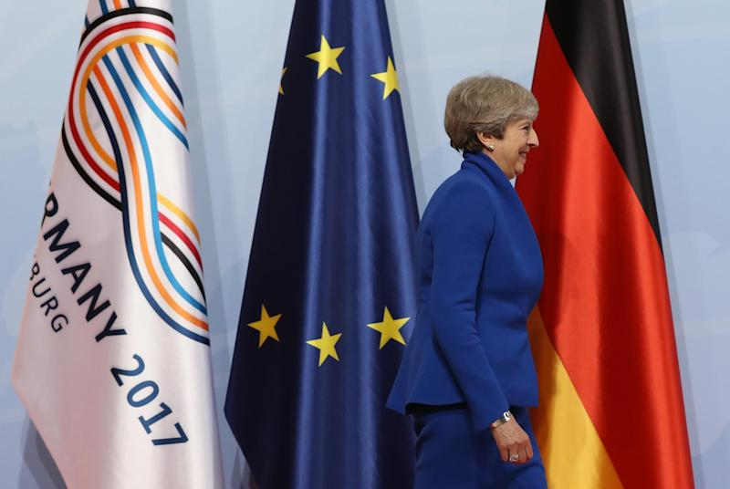 Theresa May arrives at the G20 summit in Hamburg: Getty Images