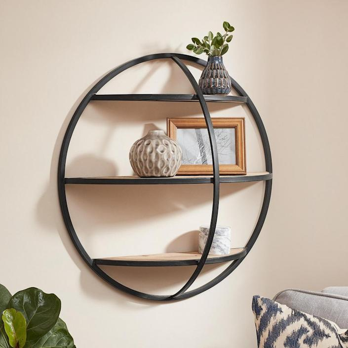 Home Decorators Collection Round Wood and Black Metal Wall-Mount Bookshelf
