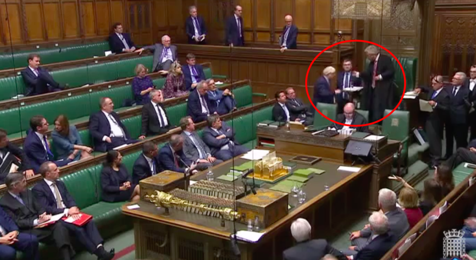 Boris Johnson left the Chamber despite being told by Speaker John Bercow to stay for points of order (Grab)