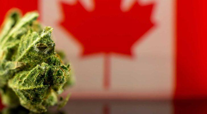 marijuana product with image of Canadian flag in background.