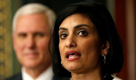 FILE PHOTO: Administrator of the Centers for Medicare and Medicaid Services Seema Verma speaks after being sworn in by U.S. Vice President Mike Pence in Washington, U.S., March 14, 2017.  REUTERS/Kevin Lamarque/File Photo