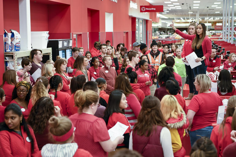 IMAGE DISTRIBUTED FOR TARGET - The Target team gears up in the final moments before the doors open on Black Friday on Thursday, Nov. 22, 2018 in Maple Grove, Minnesota. (Craig Lassig/AP Images for Target)