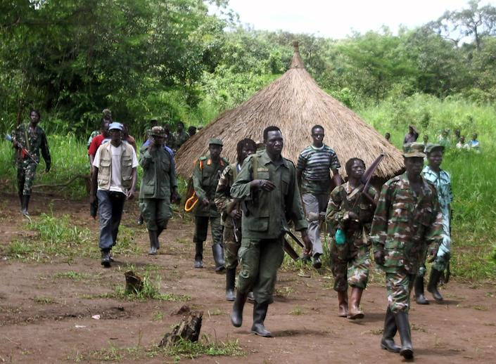 Lord's Resistance Army fighters in Ri-Kwangba on southern Sudan's border with the Democratic Republic of Congo, on September 20, 2006 (AFP Photo/)