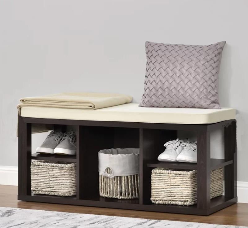 Annsville Wood Storage Bench. (Photo: Wayfair)