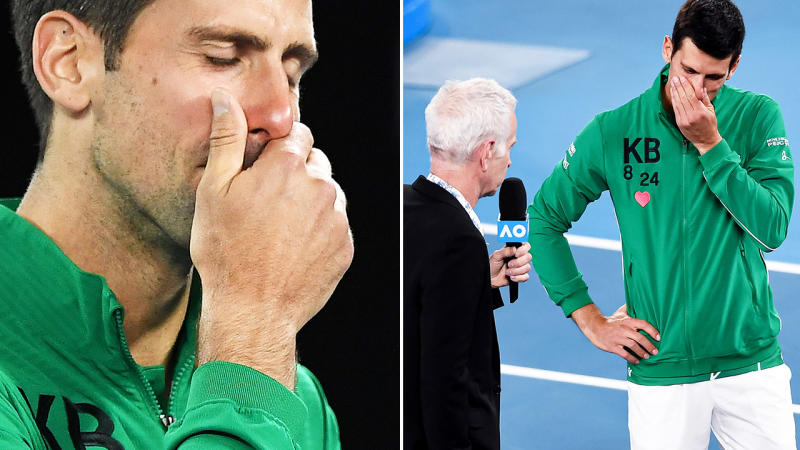 Novak Djokovic, pictured here breaking down in tears after his win at the Australian Open.